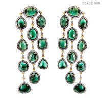 Gold Diamond Emerald Gemstone Chandelier Earrings