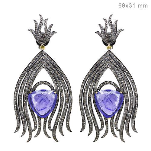 Sterling Silver Pave Diamond Tanzanite Gemstone Earrings