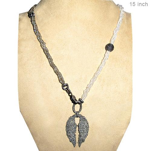 Silver Diamond Pave Gemstone Beaded Necklace