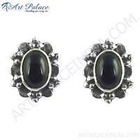 New Simple Ethnic Design Silver Black Onyx Gemstone Earrings Jewelry