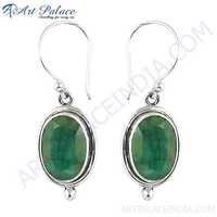 Simple Hook Style Silver Earrings With Dyed Emerald Stone Jewelry, 925 Sterling Silver