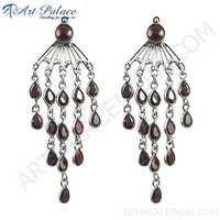 New Design In Garnet Gemstone In Silver Earrings Jewelry Fashion, 925 Sterling Silver