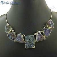 2013 Fabulous Design In Druzy Gemstone Necklace Jewelry, 925 sterling silver