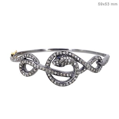 14k Gold Snake Gemstone Pave Diamond Bangle