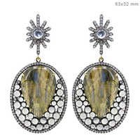 14k Gold Gemstone Pave Diamond Earring