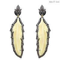 Gemstone Carving Diamond Pave Feather Earrings