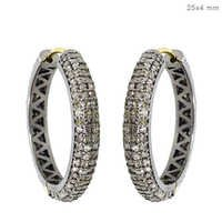 Sterling Silver Pave Diamond Hoop Earrings
