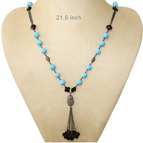 Diamond Gemstone Beads Necklace Jewelry