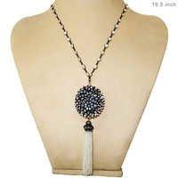 Diamond Gemstone Beaded Tassel Pendant Necklace