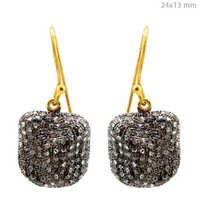 Silver Pave Diamond Hook Earrings