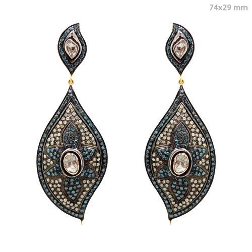Pave Diamond Dangle Gold Earrings