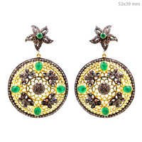 Diamond Emerald Gold Filigree Earrings
