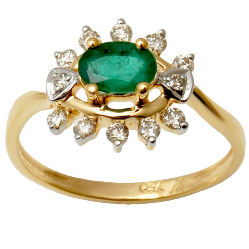 Indian Natural 18K White Gold Diamond Emerald Ring