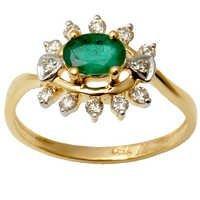 Indian Natural 18K White Gold Diamond Emerald Ring