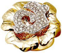 Flower Diamond Gold Ring Design For Girls