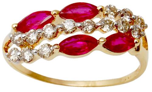 Womens Engagement Jewelry Ring, Blood Ruby Diamond