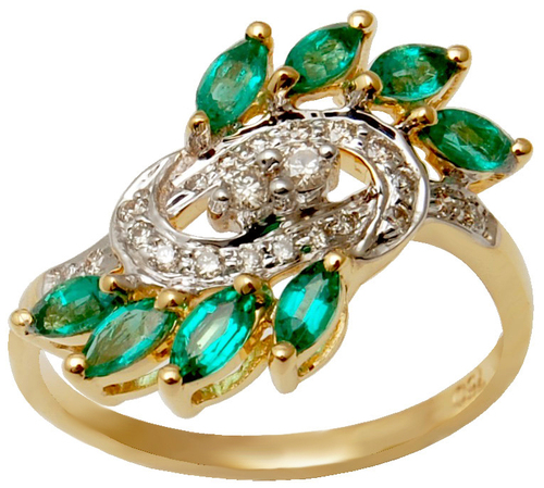 Attractive Emerald Diamond Gold Ring , Emerald