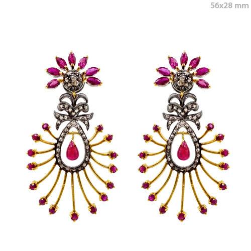 Gemstone Gold Diamond Earrings