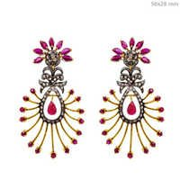 Gemstone Gold Diamond Earrings