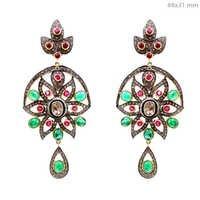 14k Gold Precious Gemstone Diamond Dangle Earrings