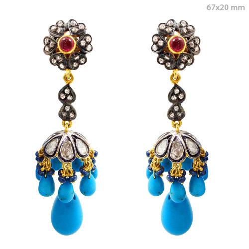 Rose Cut Diamond Gemstone Jhumki Earrings