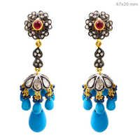 Rose Cut Diamond Gemstone Jhumki Earrings