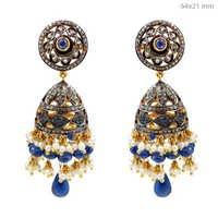 Pave Diamond Gemstone Victorian Earrings