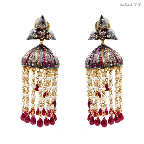 Pave Diamond Gemstone Indian Ethnic Earrings