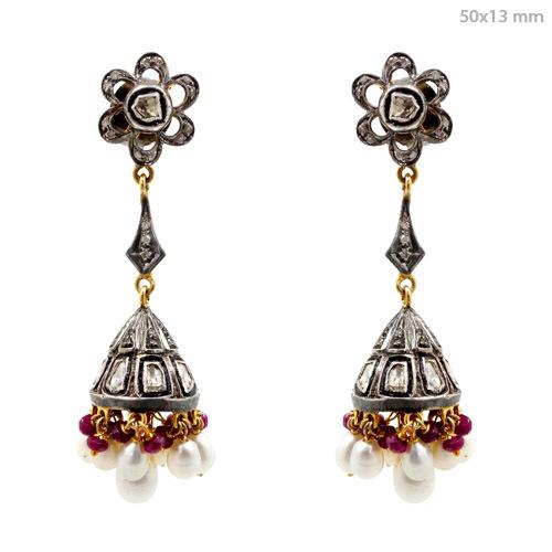 Pearl Gemstone Diamond Dangle Earrings