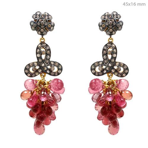 Diamond Pink Tourmaline Earrings