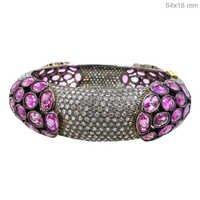 Gemstone Pink Sapphire Diamond Pave Bangle