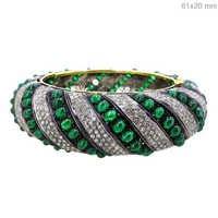 Gold Gemstone Diamond Pave Bangle Jewelry