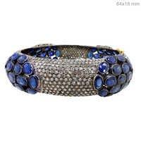 Pave Diamond Blue Sapphire Bangle
