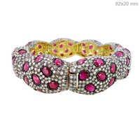 Pave Diamond Precious Ruby Bangle Jewelry