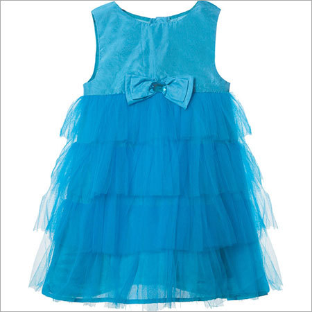 Girls Blue Layered Dress