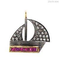 Ship Style Pave Diamond Gemstone Charm