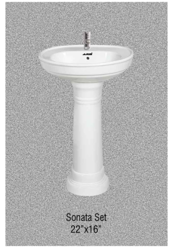 Round Pedestal Wash Basin Set