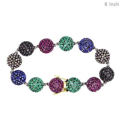 Multi Sapphire Diamond Gemstone Bracelet