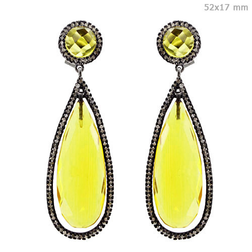 Diamond Gemstone Long Dangle Earrings