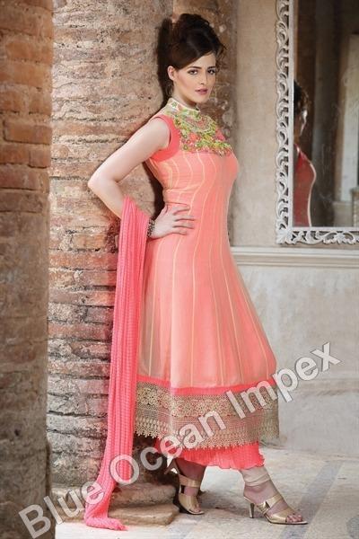 Peach Designer Net Dress