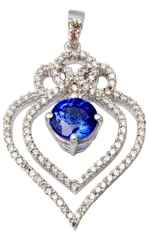 Luxurious cheap  heart shaped  saphire gold diamond  pendant, blue saphire  gold diamond pendant
