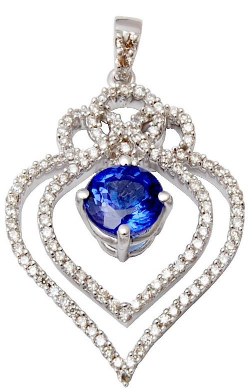 Luxurious cheap  heart shaped  saphire gold diamond  pendant, blue saphire  gold diamond pendant