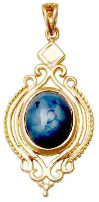 Gemstone cab cut Pendant Jewelry, oval shape saphire stone  gold pendant