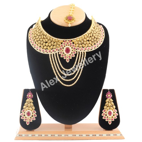 American Diamond Necklace Studded with Ruby stone