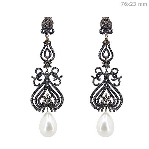 Diamond Pearl Gemstone Earrings