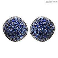 Blue Sapphire Diamond Stud Earrings