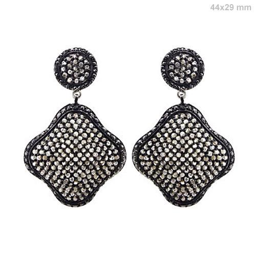 Pave Diamond Gold Earrings