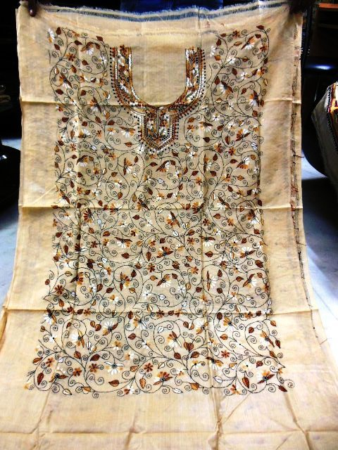 100% tussar kantha silk suits