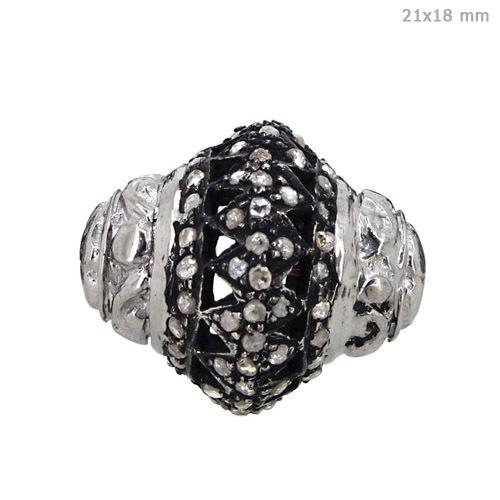 Diamond Silver Filigree Bead Finding