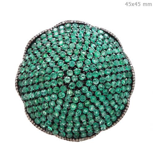 Emerald Gemstone Diamond Pave Ring